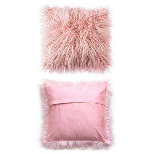 Faux Mongolian Fur Pillow Covers (3) Blush Pink